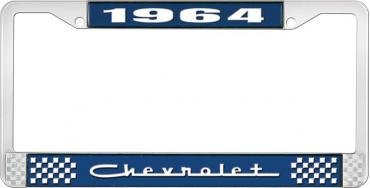 OER 1964 Chevrolet Style #5 Blue and Chrome License Plate Frame with White Lettering LF2236405B