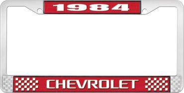 OER 1984 Chevrolet Style # 3 Red and Chrome License Plate Frame with White Lettering LF2238403C