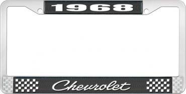 OER 1968 Chevrolet Style # 4 Black and Chrome License Plate Frame with White Lettering LF2236804A