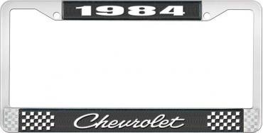 OER 1984 Chevrolet Style # 4 Black and Chrome License Plate Frame with White Lettering LF2238404A