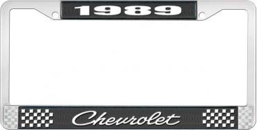 OER 1989 Chevrolet Style # 4 Black and Chrome License Plate Frame with White Lettering LF2238904A