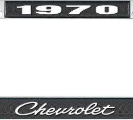OER 1970 Chevrolet Style #4 - Black and Chrome License Plate Frame with White Lettering *LF2237004A