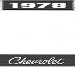 OER 1978 Chevrolet Style #4 - Black and Chrome License Plate Frame with White Lettering *LF2237804A