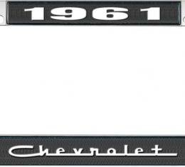 OER 1961 Chevrolet Style #5 Black and Chrome License Plate Frame with White Lettering LF2236105A