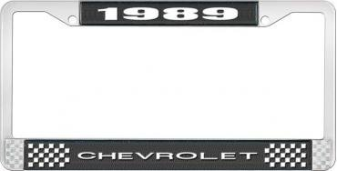 OER 1989 Chevrolet Style # 1 Black and Chrome License Plate Frame with White Lettering LF2238901A