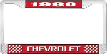 OER 1980 Chevrolet Style #3 - Red and Chrome License Plate Frame with White Lettering *LF2238003C