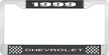 OER 1999 Chevrolet Style # 1 Black and Chrome License Plate Frame with White Lettering LF2239901A