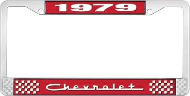 OER 1979 Chevrolet Style # 5 Red and Chrome License Plate Frame with White Lettering LF2237905C