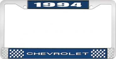 OER 1994 Chevrolet Style # 1 Blue and Chrome License Plate Frame with White Lettering LF2239401B
