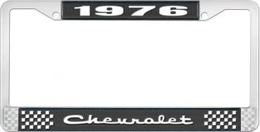 OER 1976 Chevrolet Style # 2 Black and Chrome License Plate Frame with White Lettering LF2237602A