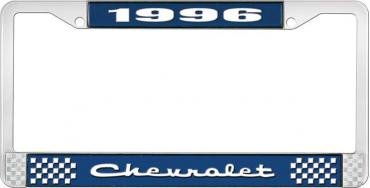 OER 1996 Chevrolet Style # 2 Blue and Chrome License Plate Frame with White Lettering LF2239602B