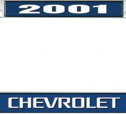 OER 2001 Chevrolet Style #3 - Blue and Chrome License Plate Frame with White Lettering *LF2230103B