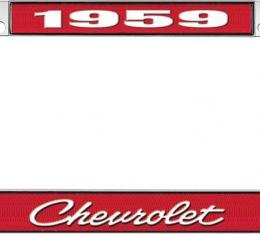 OER 1959 Chevrolet Style #4 Red and Chrome License Plate Frame with White Lettering LF2235904C