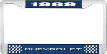 OER 1989 Chevrolet Style # 1 Blue and Chrome License Plate Frame with White Lettering LF2238901B