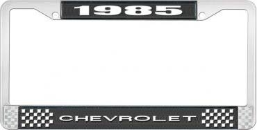 OER 1985 Chevrolet Style # 1 Black and Chrome License Plate Frame with White Lettering LF2238501A