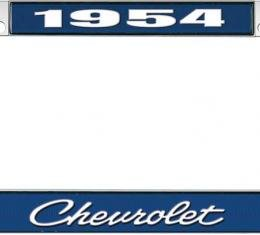 OER 1954 Chevrolet Style #4 Blue and Chrome License Plate Frame with White Lettering LF2235404B