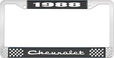 OER 1988 Chevrolet Style # 2 Black and Chrome License Plate Frame with White Lettering LF2238802A