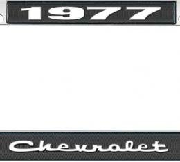 OER 1977 Chevrolet Style #2 - Black and Chrome License Plate Frame with White Lettering *LF2237702A