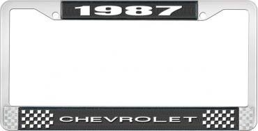 OER 1987 Chevrolet Style # 1 Black and Chrome License Plate Frame with White Lettering LF2238701A