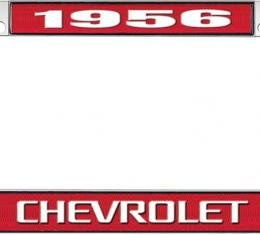 OER 1956 Chevrolet Style #3 Red and Chrome License Plate Frame with White Lettering LF2235603C