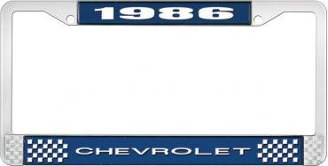 OER 1986 Chevrolet Style #1 - Blue and Chrome License Plate Frame with White Lettering *LF2238601B
