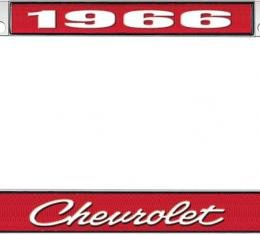 OER 1966 Chevrolet Style #4 - Red and Chrome License Plate Frame with White Lettering *LF2236604C