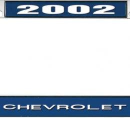 OER 2002 Chevrolet Style #1 - Blue and Chrome License Plate Frame with White Lettering *LF2230201B
