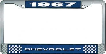 OER 1967 Chevrolet Style #1 Blue and Chrome License Plate Frame with White Lettering LF2236701B