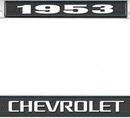 OER 1953 Chevrolet Style #3 Black and Chrome License Plate Frame with White Lettering LF2235303A