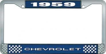 OER 1959 Chevrolet Style #1 Blue and Chrome License Plate Frame with White Lettering LF2235901B