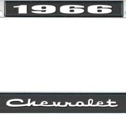 OER 1966 Chevrolet Style #2 - Black and Chrome License Plate Frame with White Lettering *LF2236602A