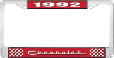 OER 1992 Chevrolet Style # 5 Red and Chrome License Plate Frame with White Lettering LF2239205C