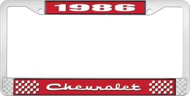 OER 1986 Chevrolet Style # 2 Red and Chrome License Plate Frame with White Lettering LF2238602C