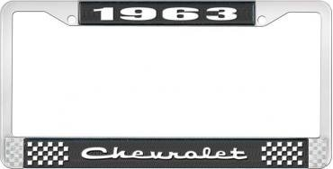 OER 1963 Chevrolet Style #2 Black and Chrome License Plate Frame with White Lettering LF2236302A