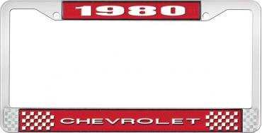 OER 1980 Chevrolet Style # 1 Red and Chrome License Plate Frame with White Lettering LF2238001C