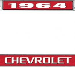 OER 1964 Chevrolet Style #3 Red and Chrome License Plate Frame with White Lettering LF2236403C