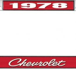 OER 1978 Chevrolet Style #4 - Red and Chrome License Plate Frame with White Lettering *LF2237804C