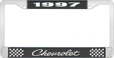 OER 1997 Chevrolet Style # 4 Black and Chrome License Plate Frame with White Lettering LF2239704A
