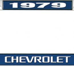 OER 1979 Chevrolet Style #3 - Blue and Chrome License Plate Frame with White Lettering *LF2237903B