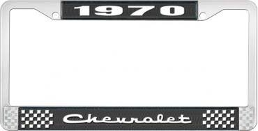 OER 1970 Chevrolet Style # 2 Black and Chrome License Plate Frame with White Lettering LF2237002A
