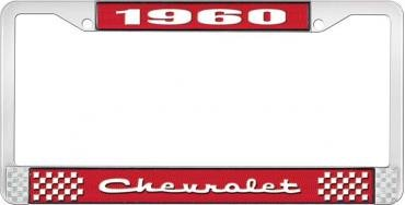 OER 1960 Chevrolet Style #2 Red and Chrome License Plate Frame with White Lettering LF2236002C