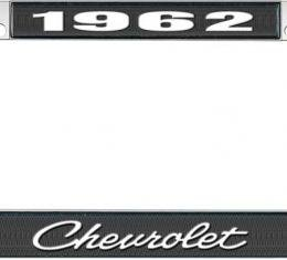 OER 1962 Chevrolet Style #4 Black and Chrome License Plate Frame with White Lettering LF2236204A