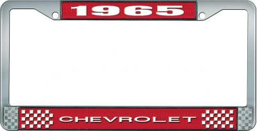 OER 1965 Chevrolet Style #1 Red and Chrome License Plate Frame with White Lettering LF2236501C