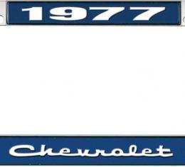OER 1977 Chevrolet Style #2 - Blue and Chrome License Plate Frame with White Lettering *LF2237702B