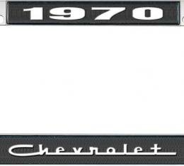 OER 1970 Chevrolet Style #5 - Black and Chrome License Plate Frame with White Lettering *LF2237005A