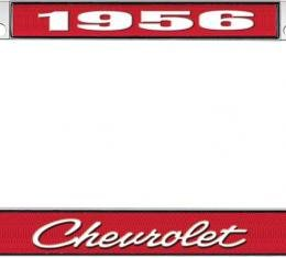 OER 1956 Chevrolet Style #4 Red and Chrome License Plate Frame with White Lettering LF2235604C