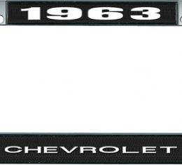 OER 1963 Chevrolet Style #1 Black and Chrome License Plate Frame with White Lettering LF2236301A