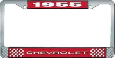 OER 1955 Chevrolet Style #1 Red and Chrome License Plate Frame with White Lettering LF2235501C