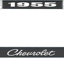 OER 1955 Chevrolet Style #4 Black and Chrome License Plate Frame with White Lettering LF2235504A