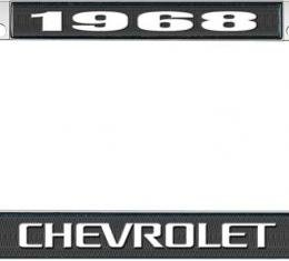 OER 1968 Chevrolet Style #3 - Black and Chrome License Plate Frame with White Lettering *LF2236803A